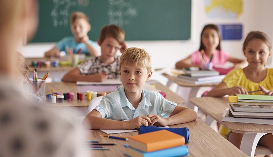 attentive children in school class