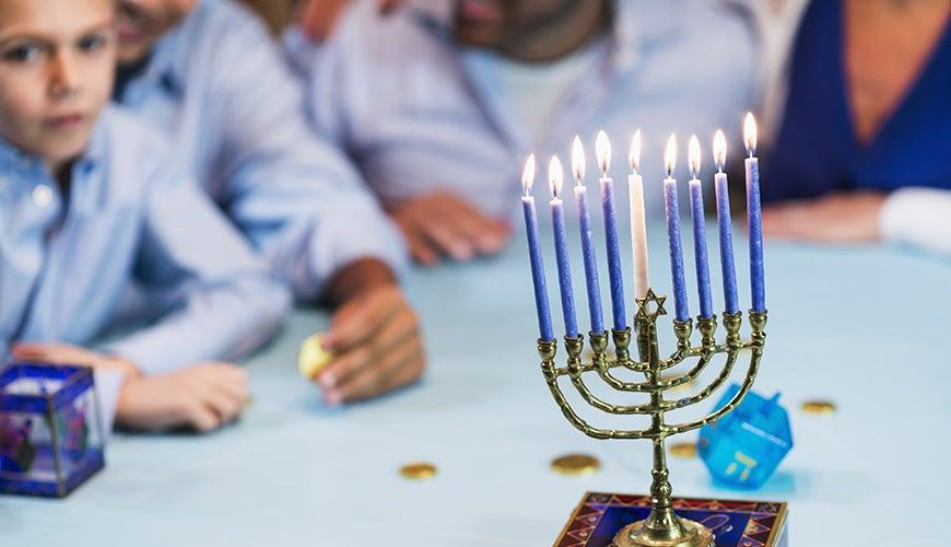 Jewish children at Hanukkah