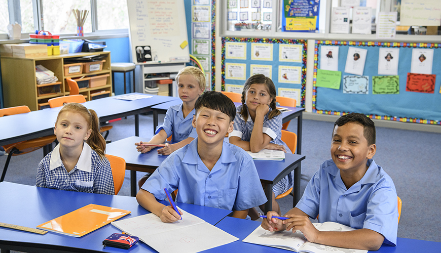 Children happy in class