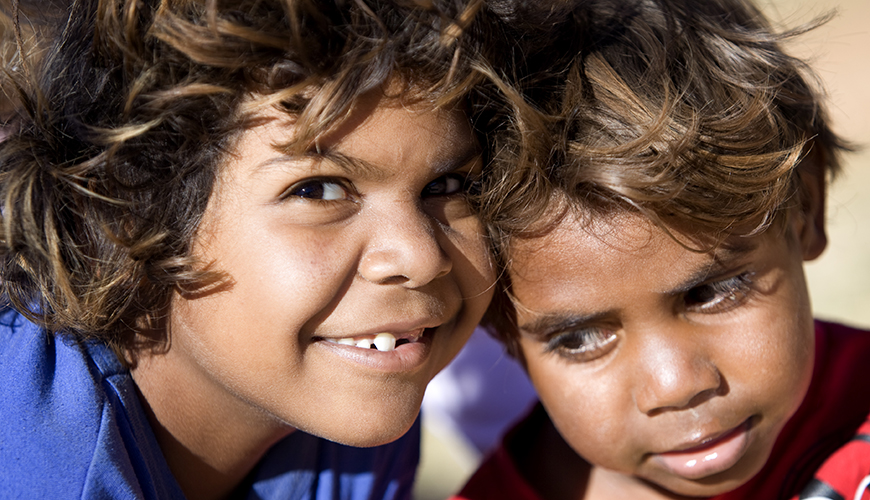 two Aboriginal children smiling