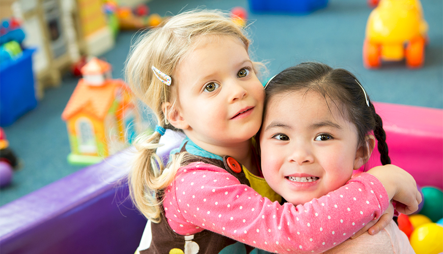 Girls playing at preschool