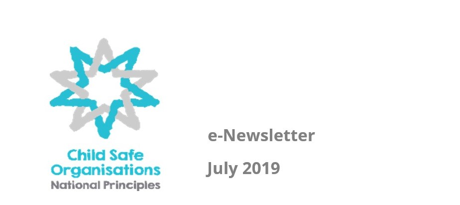 Child Safe Organisations logo with e-newsletter July 2019