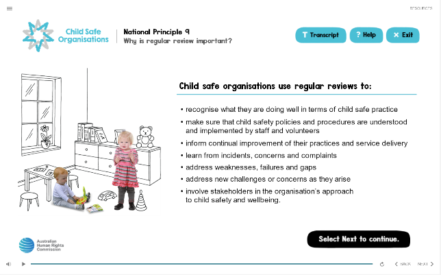 List of actions taken by child safe organisations when conducting regular review