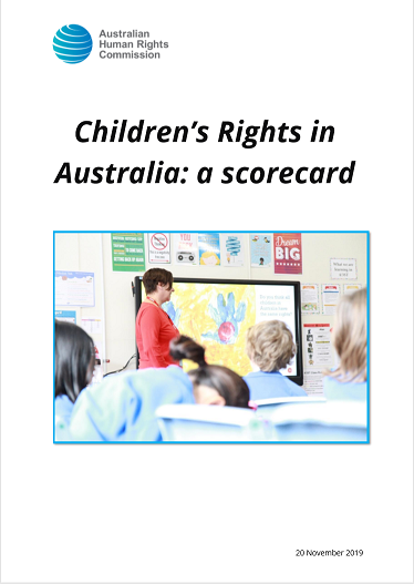 Front page of Children's Rights in Australia: a scorecard