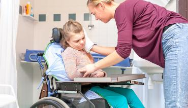 Girl in wheelchair at hospital